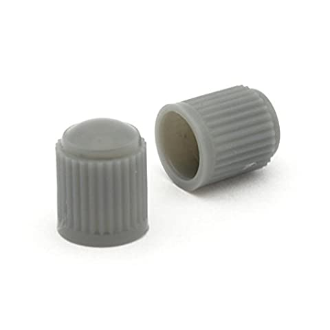 2x Grey Plastic Tyre Valve Dust Caps Schrader Type Universal Fit Motorcycle Scooter Dirt Bike Quad
