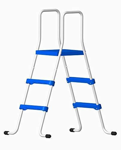 well2wellness® Poolleiter Schwimmbad Leiter - 2-stufig mit Plattform 150/91 cm (024288)