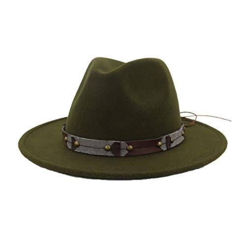 GOUNURE Frauen Wollfilz breiter Krempe Fedora Hüte Klassische Vintage-Mode Trilby Church Hut britischen Stil Jazz Hut mit Punk-Gürtel -