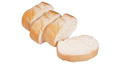 ERRO 4 Weißbrotscheiben aus Kunststoff - 15488, Baguette, Stangenbrot, Bäckerei Dekoattrappe, Lebensmittelnachbildung Brot, Fake Food, künstliche Lebensmittel, Theater Requisite, Gastronomiebedarf