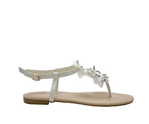 JustGlam - Scarpe Donna Infradito tacco basso in ecopelle con applicazione di fiori Bianco