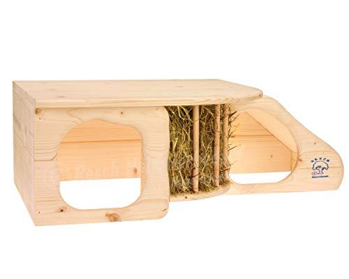 """Resch Nr11 """"Nagerhöhle XL"""" naturbelassenes Massivholz aus Fichte / mit Treppe zur Liegeterasse, integrierter Heuraufe, großen Eingängen und gerundeten Ecken - 4"""