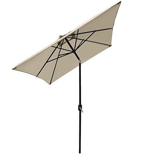 Greenbay Sonnenschirm mit Kurbel für Garten Terrasse Balkon 2x3M Rechteckschirm - Creme