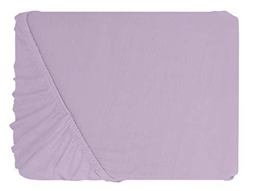 npluseins klassisches Jersey Spannbetttuch – erhältlich in 34 modernen Farben und 6 verschiedenen Größen – 100% Baumwolle, 90-100 x 200 cm, flieder - 2