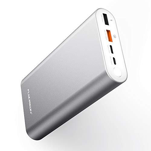 Floureon caricabatterie portatile, batteria esterna 20000mah, powerbank con 2 porte usb di uscita 3a ad alta velocità e 2 interfacce di ingresso type-c e usb per cellulare, tablet