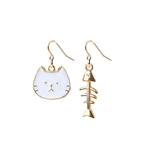 Vektenxi Ohrschmuck Textur Spaß Katze Essen Fisch Lange süße Fee Temperament Ohrringe weiß langlebig und nützlich