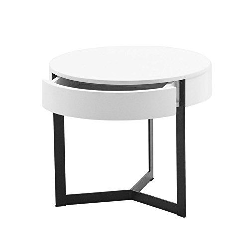 designement Wesley Table de Nuit Bois, Laqué Blanc, 45 x 45 x 40 cm