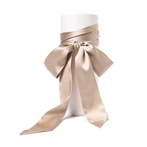 SWECOMZE Satin-Schärpe Gürtel Damen Hochzeit Bogen Band Schal Krawatte (Beige) -