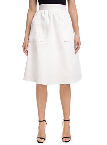 Behörde Weißes T-shirt (oodji Ultra Damen A-Linie-Rock mit Aufgesetzten Seitentaschen, Weiß, DE 32 / EU 34 / XXS)