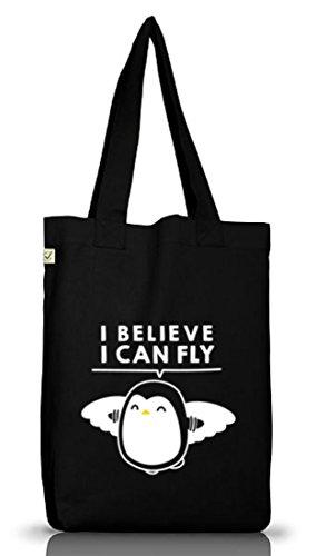 Lustiger Jutebeutel Stoffbeutel Earth Positive I Believe I Can Fly Black
