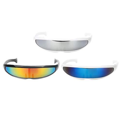Baoblaze 3er Set Futuristische Cyclops Party Brille verspiegelte Sonnenbrille Cosplay Kostüm - Cyborg Kostüm Zubehör