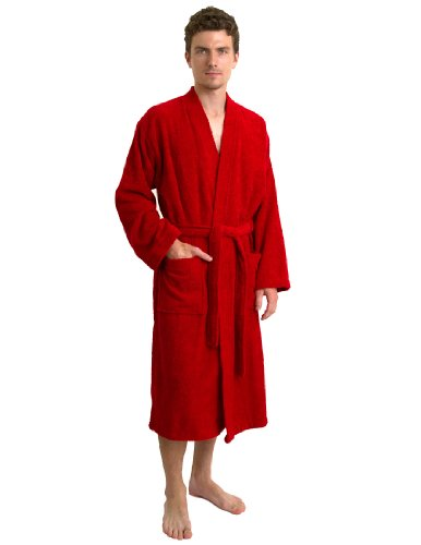 TowelSelections Herren Bademantel, türkische Baumwolle, Frottee, Kimono, hergestellt in der Türkei - Rot - Large/X-Large -
