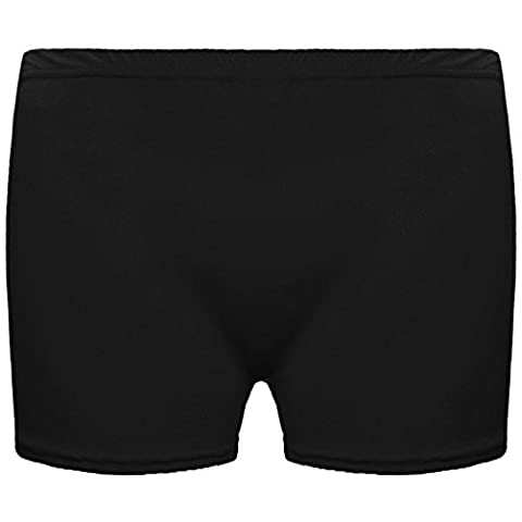 KIDS MICROFIBER HOT PANTS GIRLS KNICKERS LYCRA DANCE SHORTS GYM NEON PARTY DRESS COSTUME 5-12 YEARS OF AGE[Black ,9-10