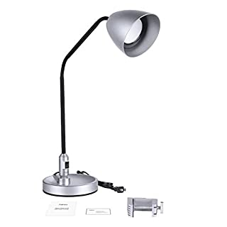 LED Desk Lamp, Aglaia, 2 in 1 Adjustable Table lamp, Clamp Lamp, 7W, Metal Base for Office, Bedside, Reading (Metal, Silver)