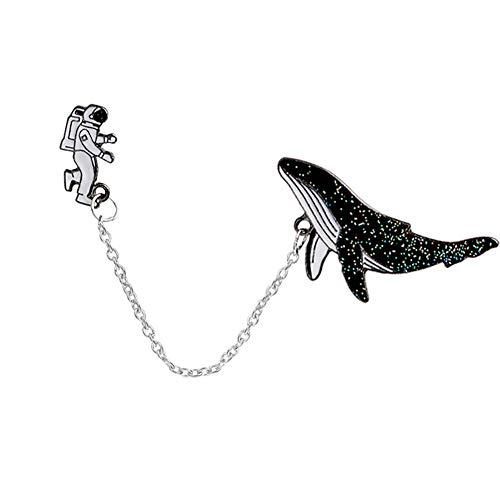 wonCacrostrans Frauen Brosche, 1 Set stilvolle Cartoon Spaceman Wal Muster Emaille Brosche Pin Kleidung Dekor Black