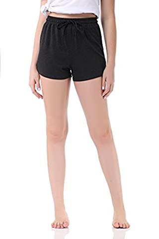 Pau1Hami1ton GP-04 Bermuda Femme Summer Shorts Solid Color Stretch Fitted Relaxed Flat Hot Walking Sport Pants(M,Grey)