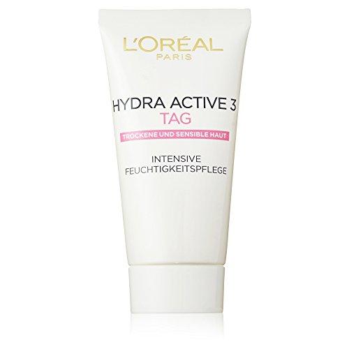 L\'Oreal Paris Hydra Active 3 Tagespflege, mit Vitamin E für trockene und sensible Haut, Tube: spendet intensiv Feuchtigkeit, 50 ml