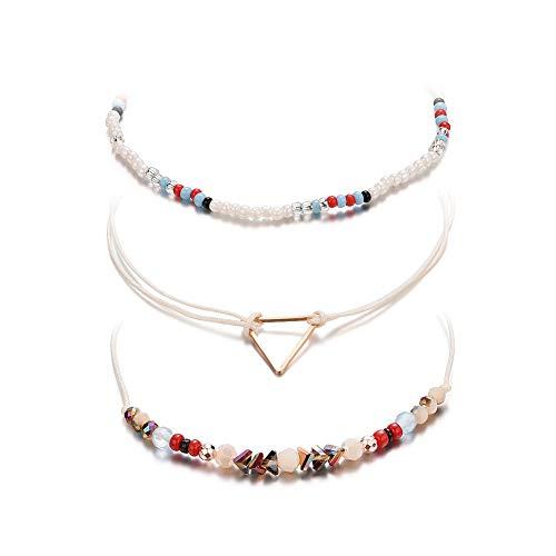 Snner 1 Conjunto Elegante pulsera hecha a Mano geométrica del triángulo pulsera de la pulsera del brazalete Ajustable para rebordear Mujeres Niñas Azul y Rojo