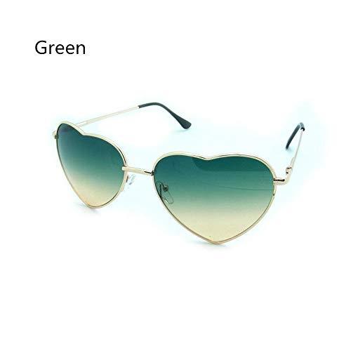 QDE Sonnenbrillen Heart Shaped Sunglasses Damen Reflektierende Männer Spiegel Aus Metall, Grün