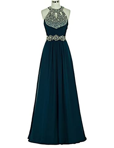 WAWALI Halter Keyhole Formal Prom Dresses Evening Party Gowns 24 Azure Blue