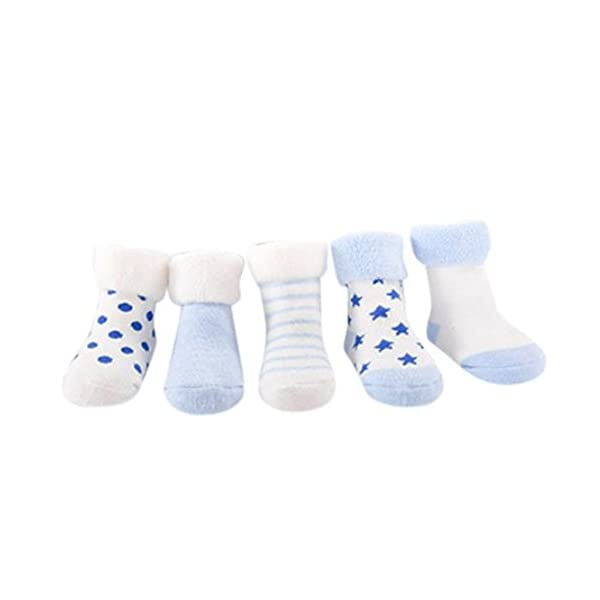 K-youth® Pack de 5 Pares Calcetines para Bebé Niños Niñas Antideslizante Calcetín 0-2 años 1