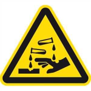 Aufkleber Warnung vor ätzenden Stoffen gemäß ASR A1.3, / DIN 7010, Folie selbstklebend 10cm (Warnschild, Gefahrstoffe, ätzend) praxisbewährt, wetterfest