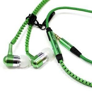 Mic Reißverschluss-ohrhörer (AGEG 3,5mm In-Ear Metall Earbuds Ohrhörer Superbaß Subwoofer Reißverschluss Stil Freisprechen mit Mikrofon Mic für PC Desktop iPhone und Android Handys (Grün))