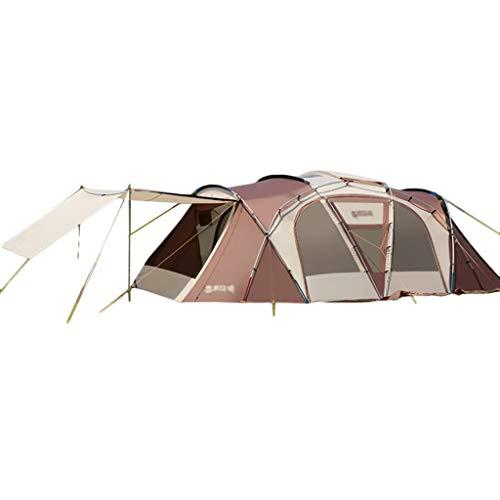 t Camping Camp Big Verdickung Tunnel Zelt Outdoor Wasserdicht Regenfest Zelt 4-6-8-10 Personen Familienzelt Riesenzelt (Color : Brown, Size : 650 * 400/345 * 220cm) ()