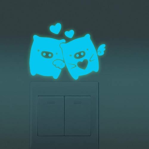 ZHOUHAOJIE Schalter Aufkleber Leuchtende Gravur Feder Vogel Schalter Aufkleber Leuchtende Aufkleber Wohnzimmer Schlafzimmer Badezimmer Schalter Aufkleber -