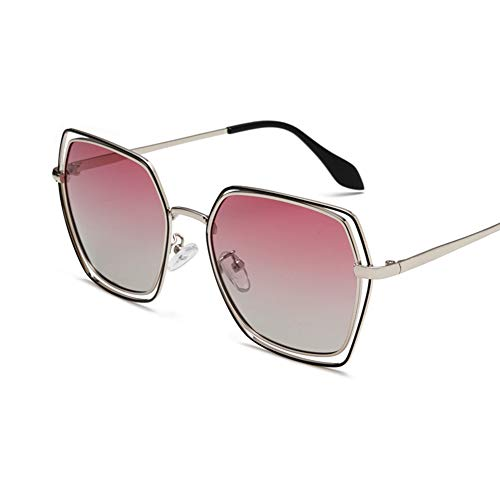 YHgiway Polarisierte Aviator-Sonnenbrille für Männer und Frauen-Hollow Out Design Gold Frame-Gradientent-Ton Mirrored Lens mit UV400-Schutz YH68781,Silver/PurpleGray