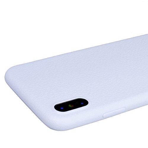 GrandEver iPhone X Hülle Weiche Silikon Handyhülle Einfarbig Farbe TPU Bumper Stoßfest Schutzhülle für iPhone X Rückschale Handytasche Anti-Kratzer Stoßdämpfung Ultra Slim Rückseite Silicon Backcover  Weiß