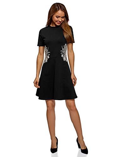 oodji Ultra Damen Tailliertes Kleid mit Reißverschluss und Stickerei,...