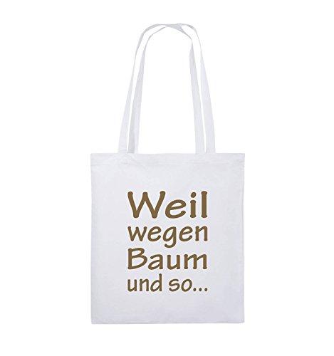 Comedy Bags - Weil wegen Baum und so - Jutebeutel - lange Henkel - 38x42cm - Farbe: Schwarz / Silber Weiss / Hellbraun