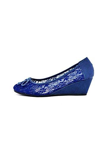 Escarpins Compensés Dentelles Bleu Bleu