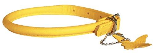 Hundehalsband aus weichem, gerolltem Leder Leicht und schmal. Nackenumfang:  33 - 41 cm. -