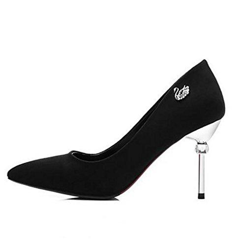W&LMFine con Scarpe singole appuntito Scarpe Bocca poco profonda Scarpe basse Tacchi alti da donna posto di lavoro Sala da ballo Black