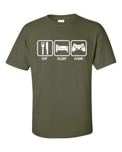 Eat Sleep Game T-Shirt Olivgrün