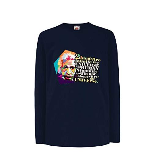 lepni.me Kinder-T-Shirt mit Langen Ärmeln Wissenschaftler Physik Albert Einstein Menschliche Dummheit Sarkastisches Zitat (7-8 Years Blau Mehrfarben)