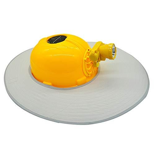 Byx- Schutzhelm-Solar-Lüfterkappe Aufladen mit LED-Lampe Schutzhelm für die Baustelle Schutzhelm für die Druckkühlung -Schutzhelm (Color : Gray)