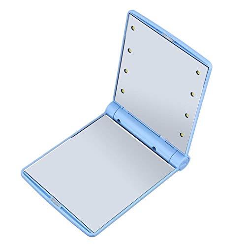WBFN 1Pcs 8 LED-Leuchten Lampen Make-up kosmetisches Folding Portable Taschenleuchten LED-Verfassungs-Spiegel-Dame Mini-Spiegel (Color : SCA 15846 Blue)