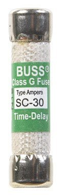 Bussmann SC-30BC 30 Amp Time-Delay Class G Melamine Tube, 600V UL Listed 1-In Bag by Bussmann - 12 Time Delay Fuse