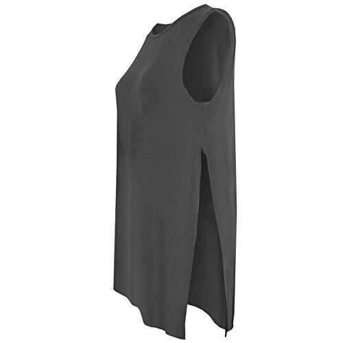 Mesdames haute Split latérale longue fente pour femme Jersey Midi Tunique sans manches Gilet sans manches pour homme Charbon