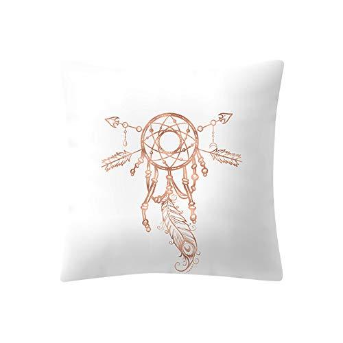 Yazidan Rose Gold Rosa Kissenbezug Quadratischer Haus Dekoration Unternehmen Luxus Perkal Baumwollmischung Euro Weiß Streifen FüR Continental EuropäIsche GrößE BettwäSche Ca, 45cmx45cm (F)