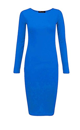 Islander Fashions Womens Plain Manches longues Stretch Midi Dress Dames Bodycon Jersey Maxi Dress S / 3XL Turquoise
