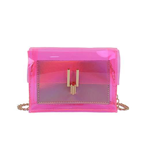 XZDCDJ Crossbody Tasche Damen Wasserdicht Handtasche UmhängeTaschen Frauen Gelee transparente Beutel Quadrat Paket Superkettenkurierbeutel Rosa