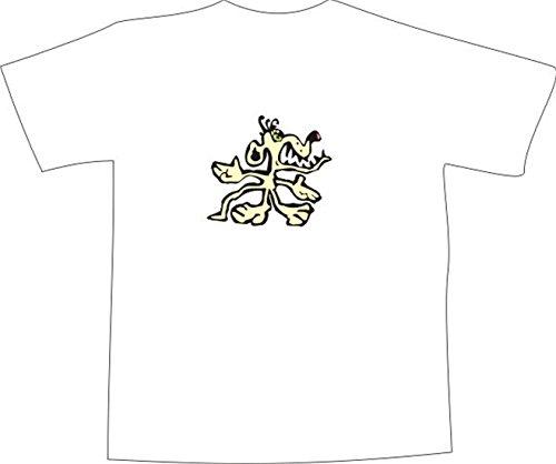 T-Shirt E588 Schönes T-Shirt mit farbigem Brustaufdruck - Logo / Grafik - Comic Design - wütender kleiner Mischlings Hund Schwarz