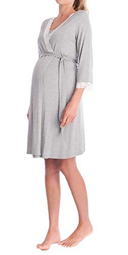 Saoye Fashion Morgenmantel Damen Umstandsmode Nachthemd Elegant 3/4 Arm V-Ausschnitt Spitze Spleiß Mädchen Kleidung Mit Gürtel Kurz Bademantel Umstands Pyjama Nachtwäsche Schwangere