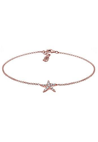 Elli Damen-Fußkettchen Seestern 925 Sterling Silber rosévergoldet Swarovski Kristalle 22 cm 0706391416_22