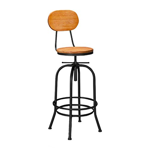 Stuhl Barhocker Barhocker Aus Eisen, Mit Höhenverstellbarer Rückenlehne Aus Massivem Holz Hochhocker Retro Esszimmerstuhl Rezeption Stuhl Metallgestell LOFT Moderne Stilmöbel, für Küche, Restaurant, C