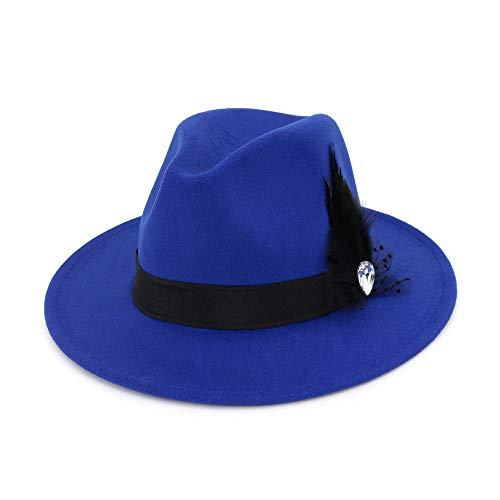 Frauen Hut Breite Flache Krempe Wollfilz Jazz Hut Woll Western Cowboy Hut Floppy Hut Feder Bühne Party Hut Hut (Farbe : Royal Blue) Justin Womens Hut